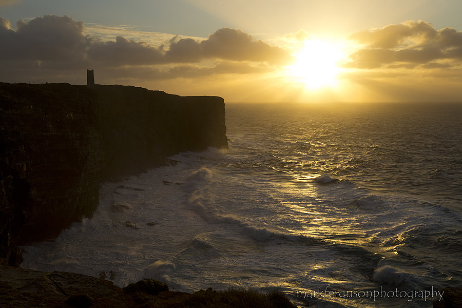 Marwick cliffs winter sunset