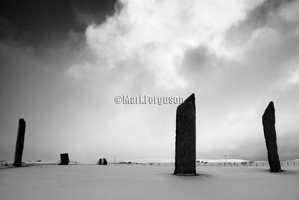 Stones of Stenness in black and white