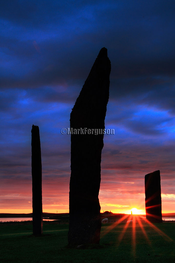 Midsummer sunset at the Stenness Standing Stones