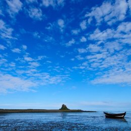 Holy Island harbour and Lindisfarne Castle