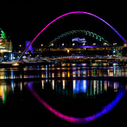 Millenium Bridge and Tyne Bridge at night