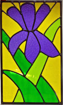 Stained glass flower panel by Beryl Brown.