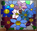 Stained glass flower panel Joanna Wilding