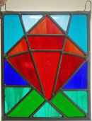 Stained glass panel by Margaret Parker.