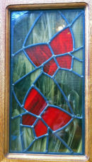 Stained glass panel by Shirley Adams.