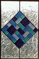 Stained glass window by Shirley Adams.