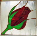 Tiffany stained glass flower panel by Su Curtis