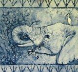 Elephant and Egret II