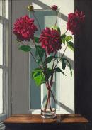 Three Stems of Purple Dahlias  (70 x 50 cms, oil on canvas, 2013)