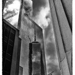 Freedom Tower reflection b&w