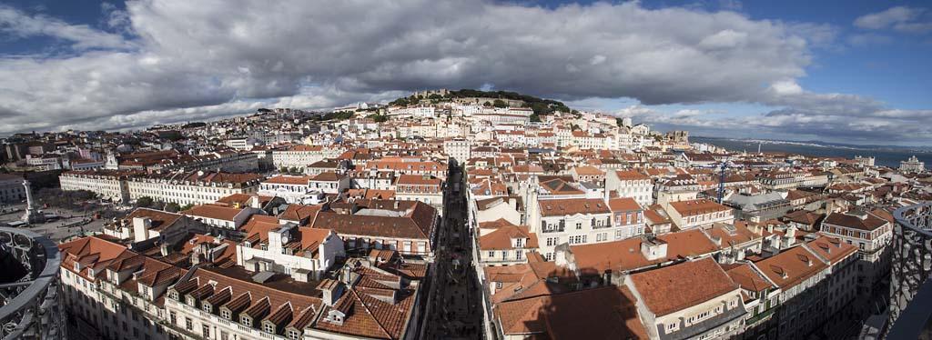 Lisbon panorama from top of Santa Justa lift - 1