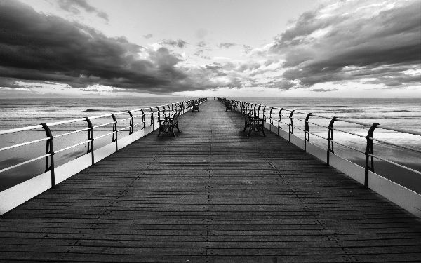 Saltburn pier between the storm