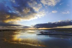 Sunrise on Holy Island at low tide
