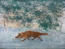 'Fox' acrylic on card, 30x 22cm
