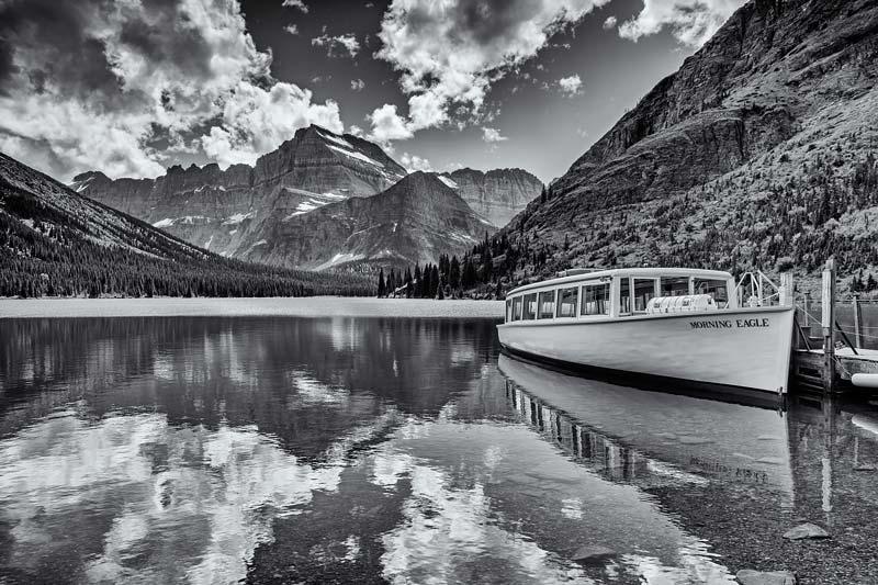 Morning Eagle sur le lac Josephine - noir et blanc