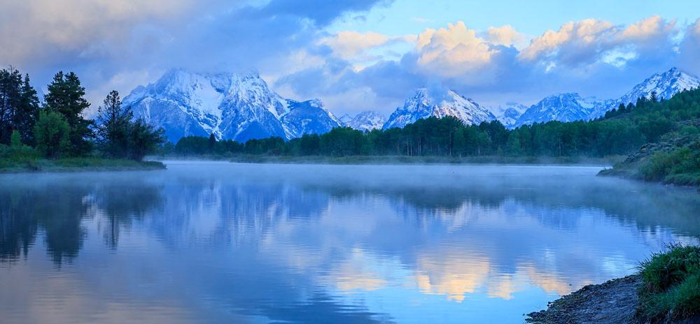 Mont Moran au lever du soleil avec nuages