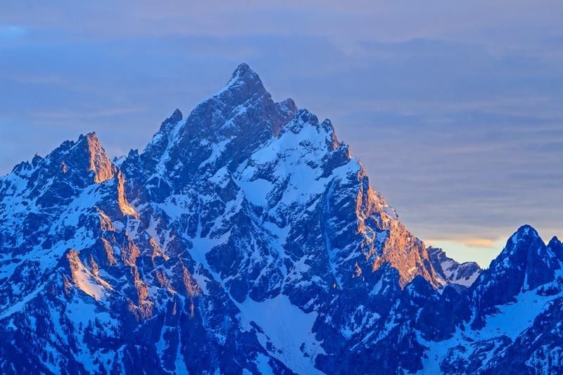 Mont Grand Teton au coucher du soleil