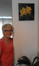 Helen with my latest painting in situ in her home.