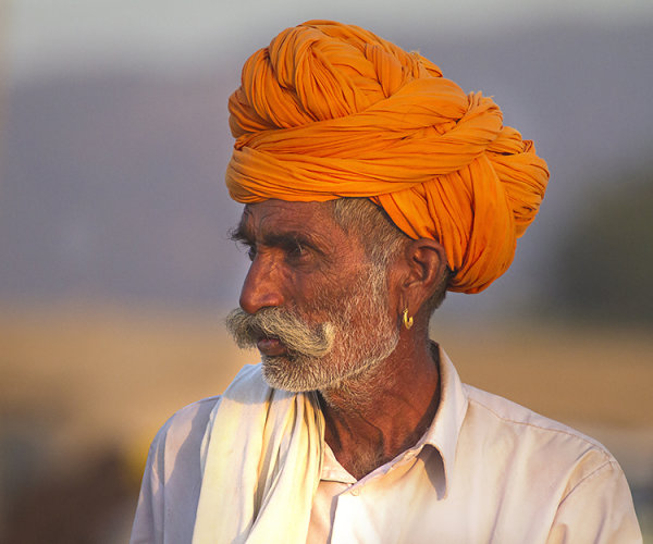 the orange turban pushkar