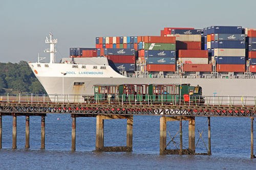 Pier train and container ship