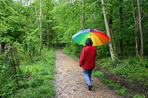 Walking with umbrella