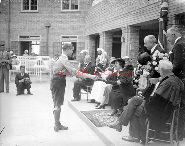 img297 Duchess of York receives a gift at Heritage Craft Schools Chailey 10-6-35