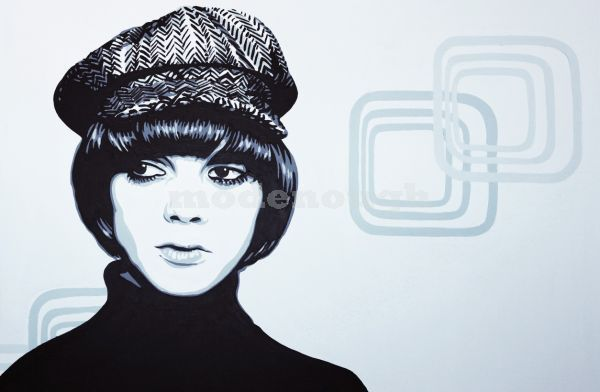 MOD GIRL HAT AND SQUARES.
