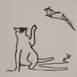 Cat and Bird on twig