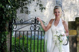 Bride at the church gate.