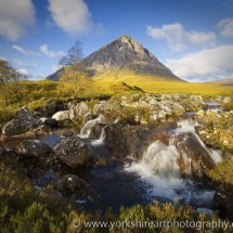 Etive Falls and the Buchaille, Glencoe, Highland, Scotland, UK