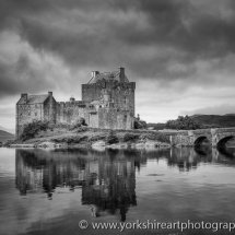 Eilean Donan Castle monochrome, Highland, Scotland, UK