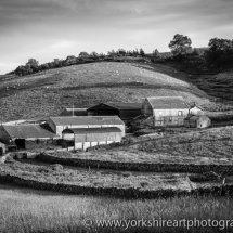 Yorkshire dales farm monochrome. Ribblesdale.  UK