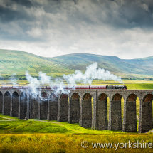Steam Train on Ribblehead Viaduct. Yorkshire Dales, UK