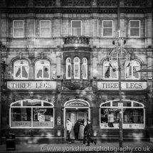 Three Legs Pub monochrome. Eastgate, Leeds, UK