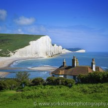 Seven Sisters white chalk cliffs. Sussex, UK