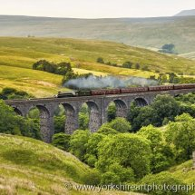 Steam Train on Dent Head Viaduct,  Yorkshire Dales, UK