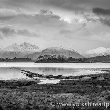 Loch Leven monochrome. Argyll, Highland Scotland UK