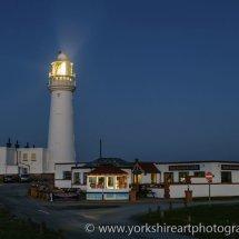 Flamborough Lighthouse at night. East Yorkshire, UK