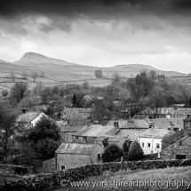 The village of Stainforth monochrome. Yorkshire Dales UK