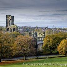 Kirkstall Abbey in autumn. Leeds, West Yorkshire,  UK