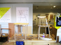 folding table and chair by Sarah Kay, Chris Eckersley drawing on wall behind