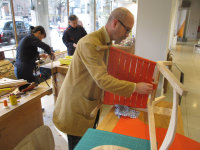 Jeremy Bonner working on the seat of Chris's rocker