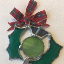 Hand Made Stained Glass Thistle (Red Ribbon)