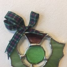 Hand Made Stained Glass Thislte (Green Ribbon)