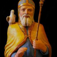 Saint David painted sculpture