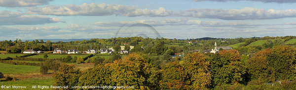 Milltown village surrounded by Autumn colour, County Cavan, Ireland.