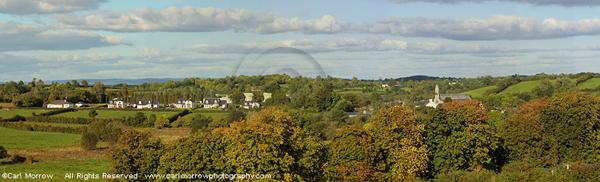 Milltown village surrounded by Autumn colour, County Cavan, Ireland.