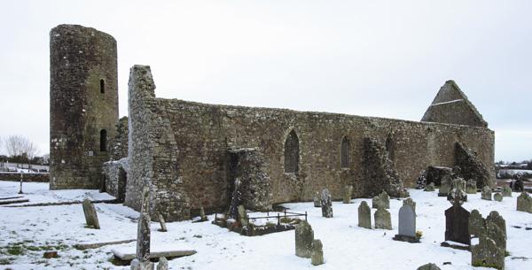 drumlane abbey in winter