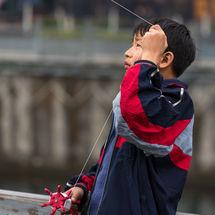 Flying his kite