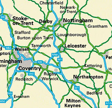 The Midlands area. Central United Kingdom.